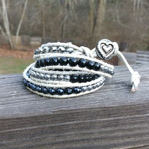 White Leather Wrap Beaded Bracelet